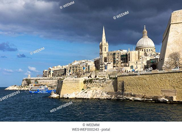 Malta, Valletta, Basilica Our Lady of Mount Carmel and St. Paul's Pro-Cathedral by the sea