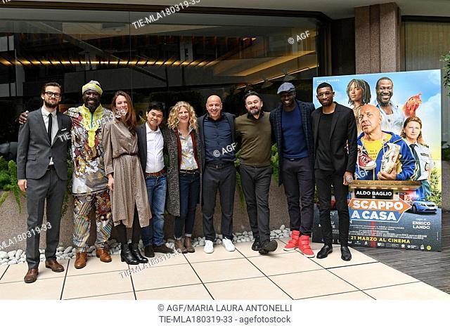 Enrico Lando, Angela Finocchiaro, Aldo Baglio, Jacky Ido during 'Scappo a casa' film photocall, Rome, Italy 18/03/2019