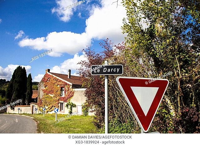 Le Darcy village sign near Epernay, Champagne, France
