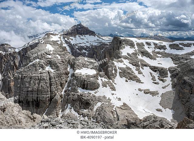Plateau of the Sella Group, at the back its highest peak Piz Boè, Boespitze, 3152 m, view from the summit of Mt Cima Pisciadù, Dolomites, South Tyrol