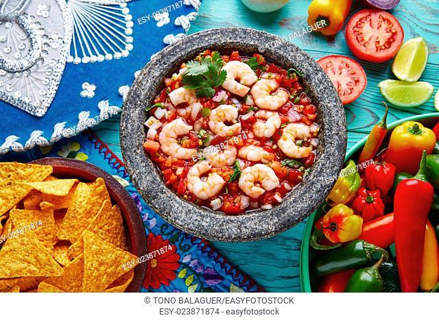 Ceviche de Camaron shrimp in molcajete from Mexico