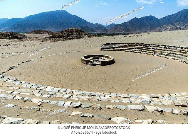 Caral ( 2600 BCE and 2000 BCE) the most ancient city of the Americas. Supe valley. Peru. UNESCO World Heritage