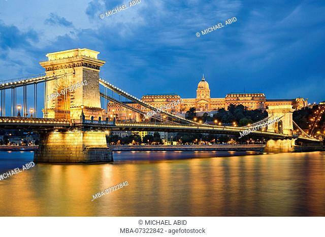 Buda Castle and Chain Bridge at night in Budapest, Hungary