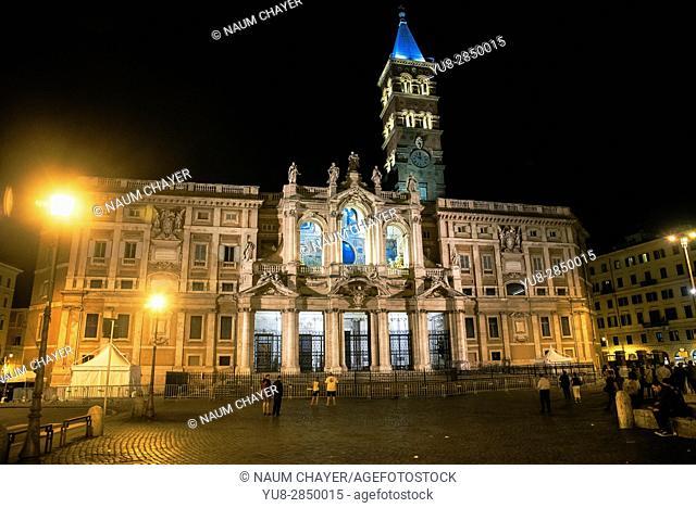 The Basilica di Santa Maria Maggiore at night,,Piazza dell'Esquilino, Rome, capital of Italy and Lazio region, Europe