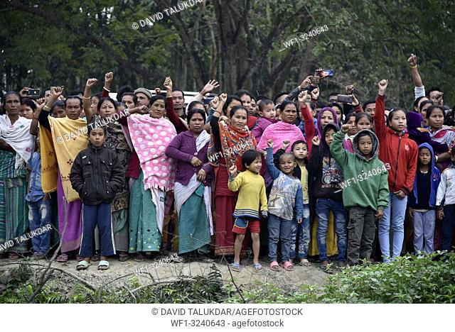 Baksa, Assam, India. 16 February 2019. Villagers during a protest against Pakistan in condemning the dastardly killing of over 40 CRPF jawans at Jammu and...