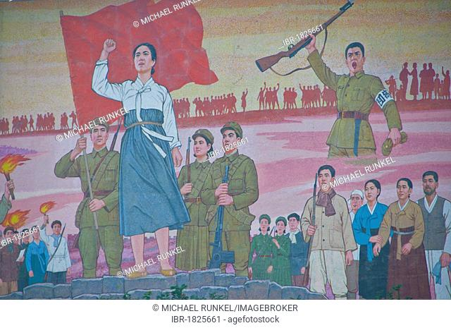 Communist murals, Pyongyang, North Korea, Asia