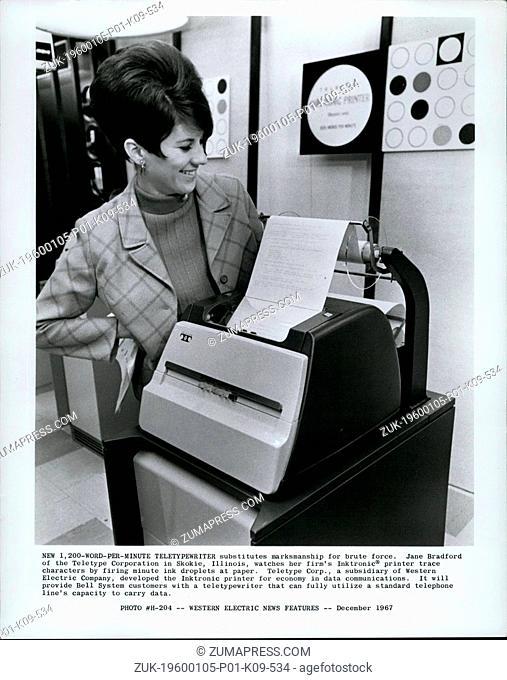 1968 - New 1-200 Word per minute teletypewriter substitutes marksmanship for brute force. Jane Bradford of the teletype corporation in Skokie, Illinois
