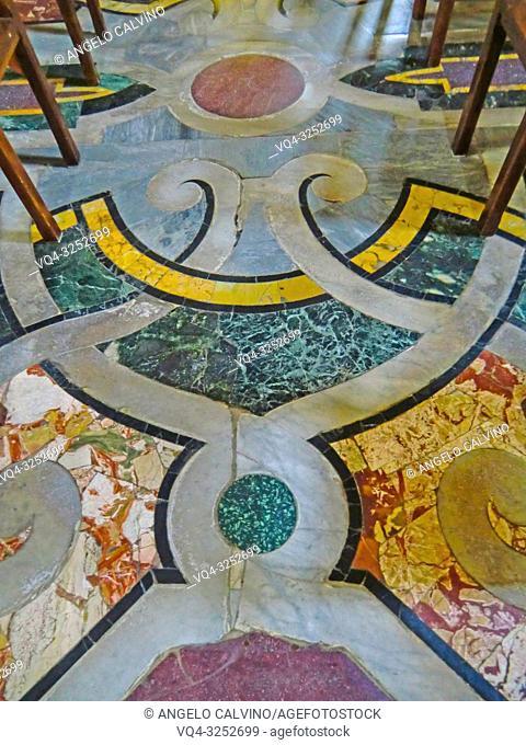 Church Santa Maria dell'Ammiraglio detta la Martorana, Details of the floor, Italy, Sicily, Palermo