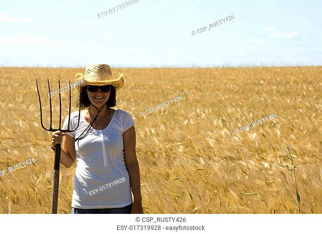 Girl in grain field