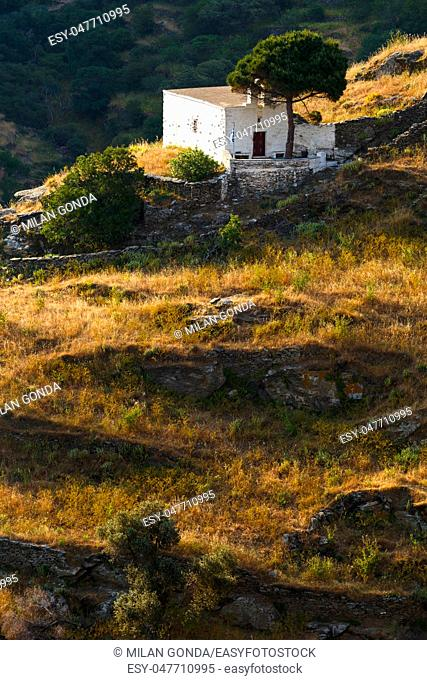 Small rural church in the fields near Ioulida village on Kea island in Greece.