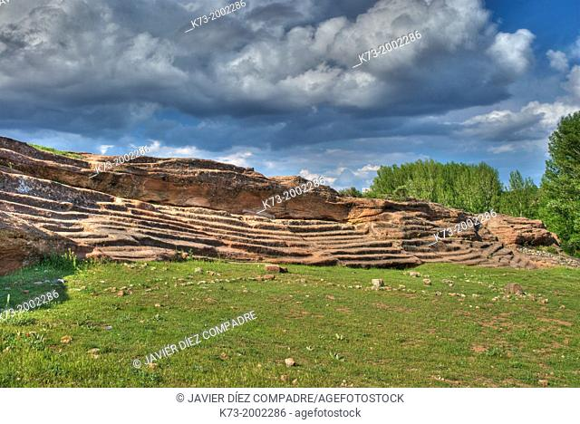 Rock Seating. Celtiberian and Roman Archeological Site of Tiermes. Montejo de Tiermes. Soria Province. Castilla y Leon. Spain