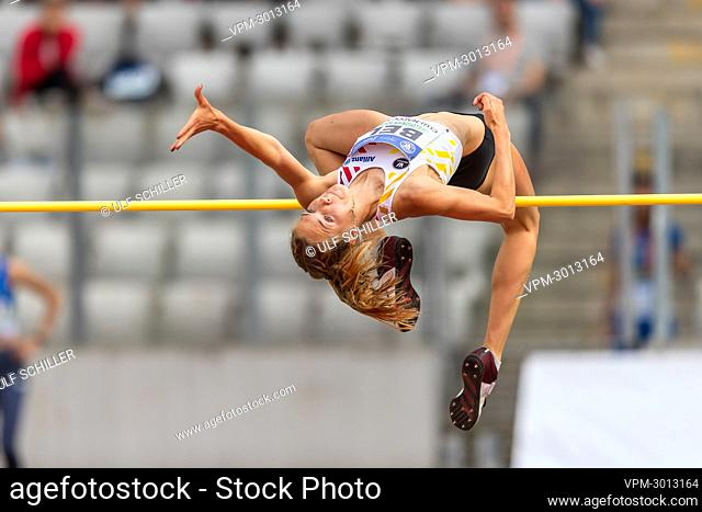 Belgian Zita Goossens pictured in action during high jump event at the second day of the European Athletics Team Championships First League athletics meeting