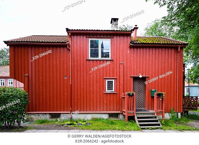 Old timber building close to the cathedral in Trondheim, Norway