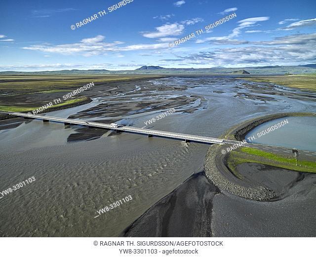 Markarfljot river, Markarfljotsbru bridge, South Coast, Iceland