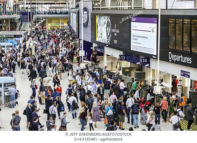 United Kingdom Great Britain England, London, Lambeth South Bank, Waterloo Station, trains, railway, concourse, passenger, commuters, terminal, man, woman