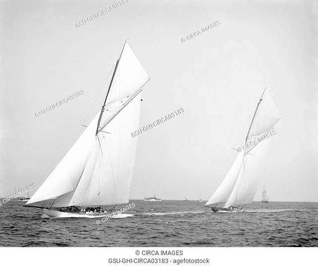 Columbia and Shamrock II, Prior to Start of America's Cup Race, New York Harbor, USA, Detroit Publishing Company, October 1901