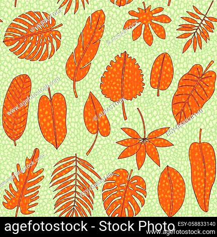 Leaves of tropical plants with leopard print seamless pattern. Synadenium, monstera, palm leaves with animal background for textile and interior prints