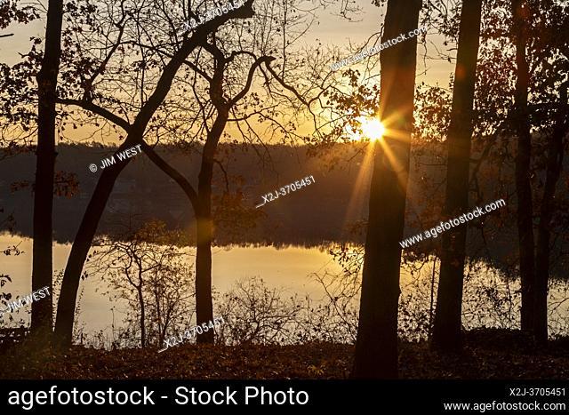 Prairieville, Michigan - Sunrise over Stewart Lake in west Michigan