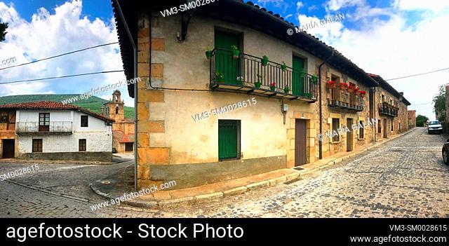 Street, panoramic view. Molinos de Duero, Soria province, Castilla Leon, Spain