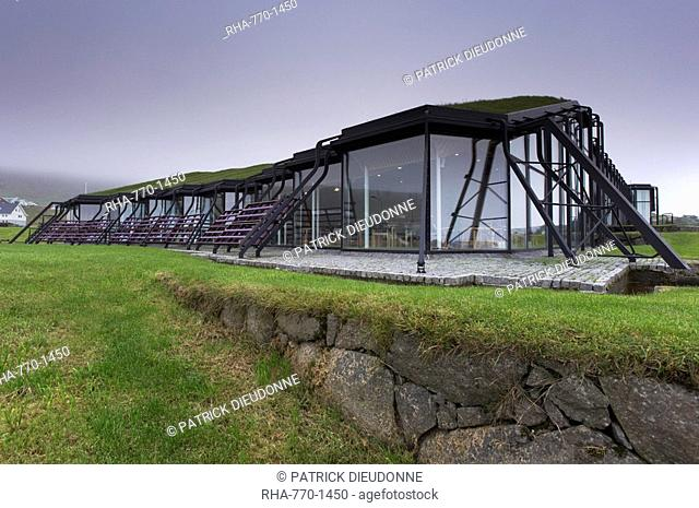 Nordic House, exteriors and turf covered roof, Torshavn, Streymoy, Faroe Islands Faroes, Denmark, Europe