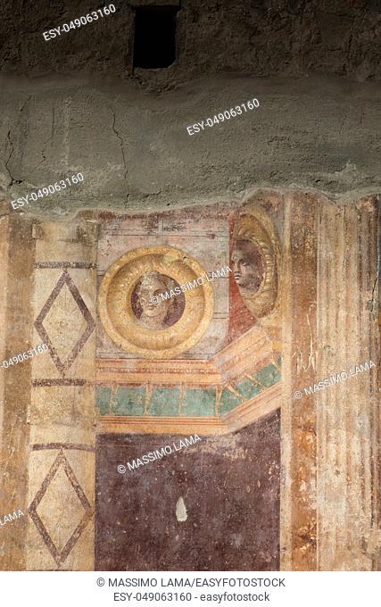 Torre Annunziata (Naples), Italy Ancient roman fresco represented a scene of Roman mitology in the Poppea's Villa
