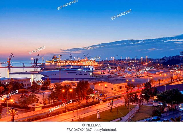 View of the seaport in the early morning. Greece. Crete