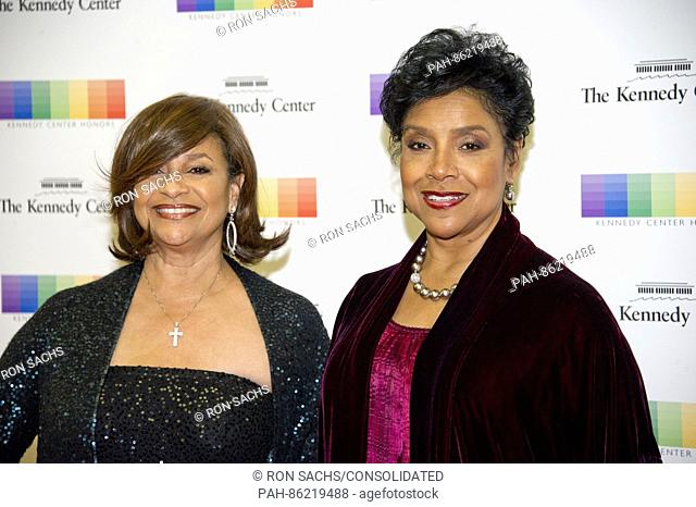Actress Debbie Allen and her sister, Phylicia Rashad arrive for the formal Artist's Dinner honoring the recipients of the 39th Annual Kennedy Center Honors...