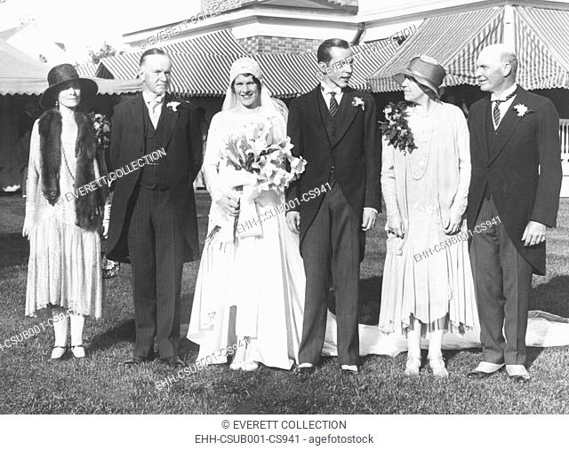 Florence Trumbull and John Coolidge wedding portrait, Sept. 28, 1929, Plainville, CT. L-R: Grace Goodhue Coolidge; Calvin Coolidge; Florence Trumbull Coolidge;...
