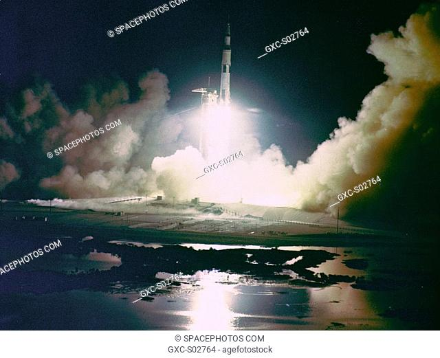 Liftoff of the Apollo 17 Saturn V Moon Rocket from Pad A, Launch Complex 39, Kennedy Space Center, Florida, at 12:33 a.m., December 17, 1972