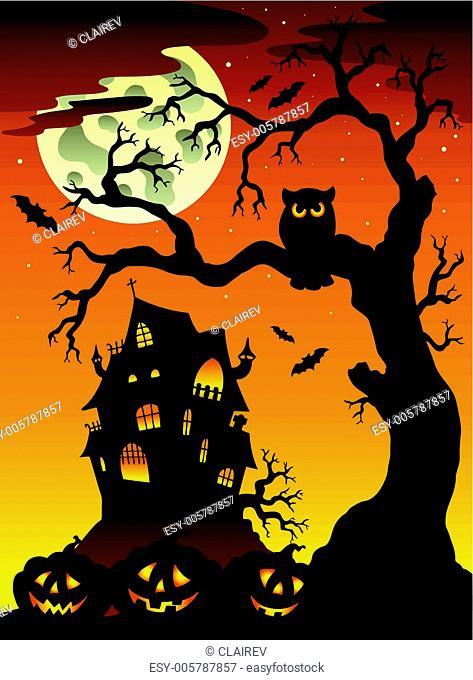 Scene with Halloween mansion 6