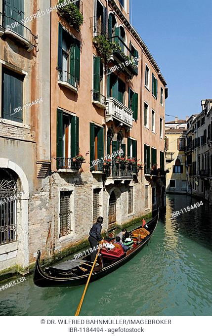 Canaletto, little canal with gondolier, San Marco quarter, Venice, Venezia, Italy, Europe