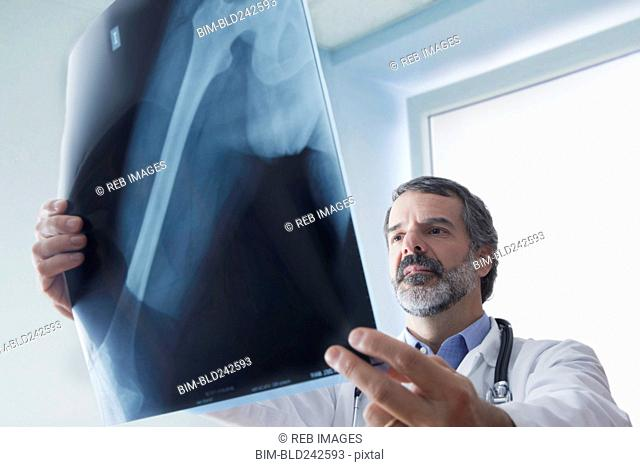 Hispanic doctor examining x-ray