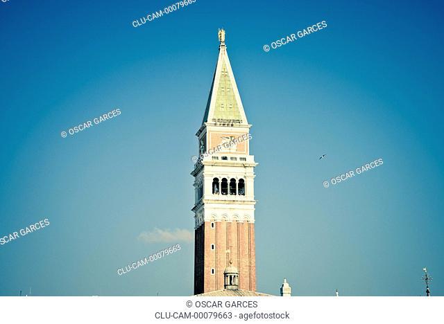 Bell Tower of San Marcos, San Giorgio Maggiore, Venice, Veneto, Italy, Western Europe