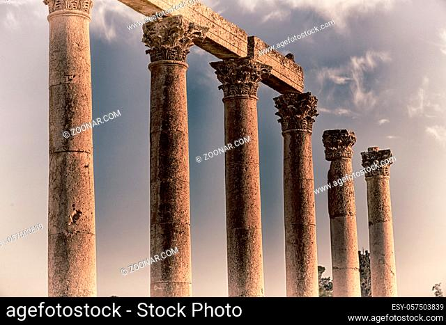 in jerash jordan the antique column and archeological site classical heritage for tourist