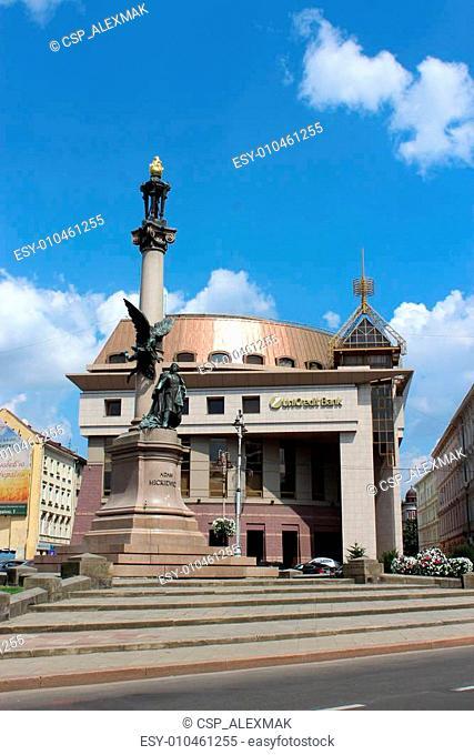 Monument of polish poet Adam Mickiewicz in Lvov