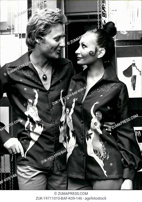 Oct. 10, 1971 - Erte Designs for Shirts: The World famous artist and designer Erte has,in his 79th year, produced a collection of designs for Men's shirts for...