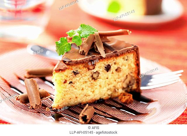 Nut cake with chocolate icing