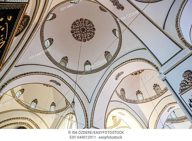 Interior detailed close view of Grand Mosque or Ulu Cami is largest mosque in Bursa, Turkey. 20 May 2018