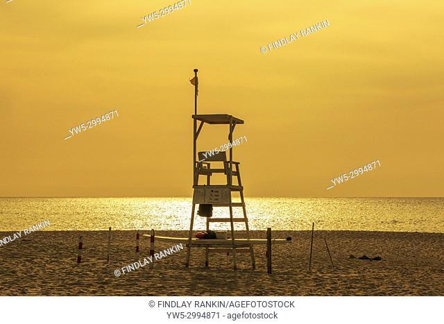 Empty lifeguard station at sunset on Bikini Beach, near Santa Maria, Cape Verde, Africa