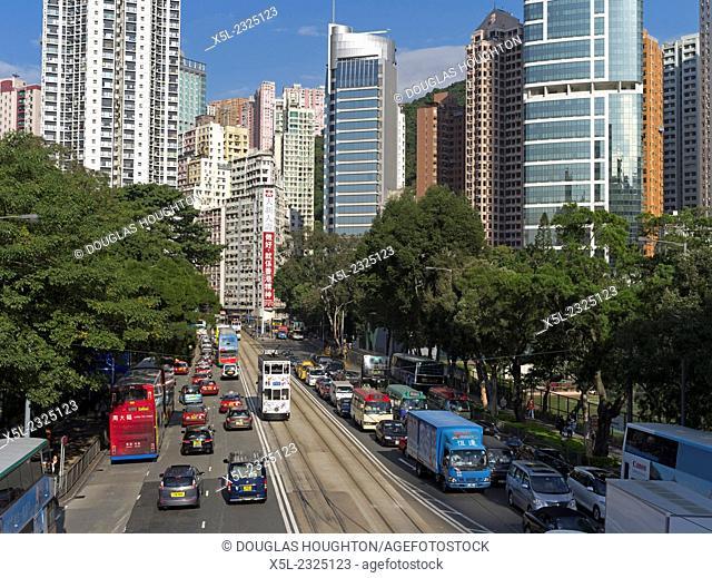 CAUSEWAY BAY HONG KONG Causeway Bay road busy traffic tower