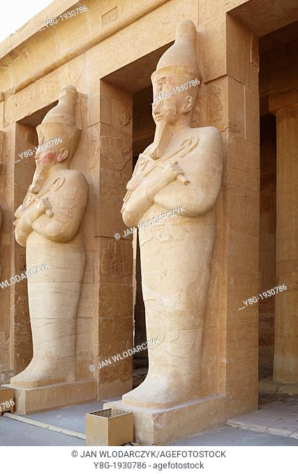 Statues of Hatshepsut on the third terrace in the Hatshepsut Temple - Valley of the Queens, Thebes, Upper Egypt, Unesco