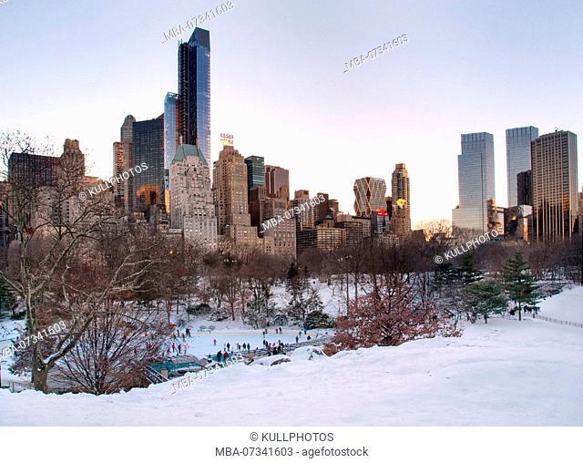 Winter and Snow in Manhattan, New York City, USA