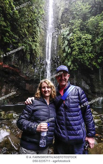 Levada 25 fountains, Rabacal, Madeira, Portugal Hikers on this famous 5 kilometer walk along levadas to waterfalls in pristine wilderness