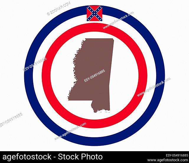 Landkarte von Mississippi auf Hintergrund mit Fahne - Map of Mississippi on background with flag