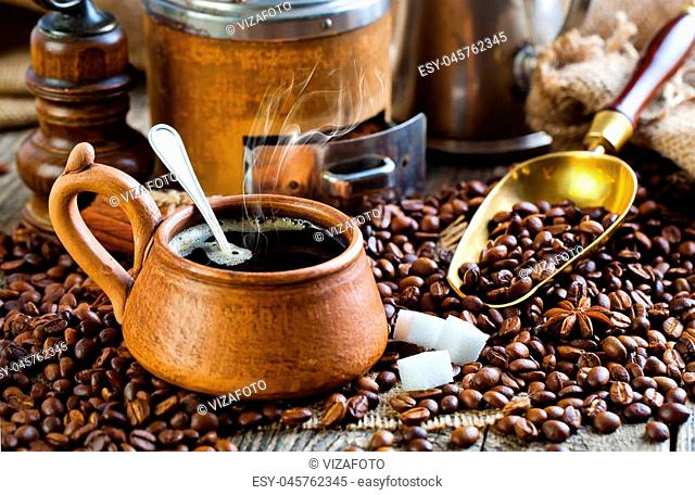 Hot drink black coffee with grains