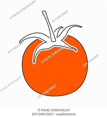 Tomatoes Icon. Thin Line With Orange Fill Design. Vector Illustration