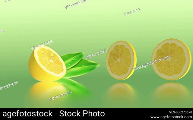 Fresh sliced lemon with drops of water. 4K UHD video 3D animation with fruit