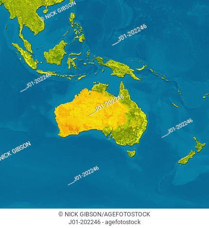 Satellite image of Australia, Indonesia and New Zealand