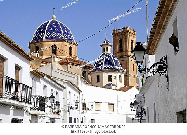 Historic centre, roofs, cupolas, blue, Virgen del Consuelo, Iglesia de Nuestra Senora del Consuelo, church, Altea, Costa Blanca, Alicante, Spain, Europe