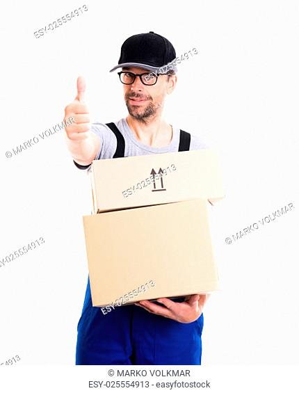 friendly postman with cap and parcels and thumb up